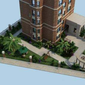 现代庭院设计3D模型【ID:131350435】