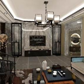 新中式客厅3D模型【ID:643440760】