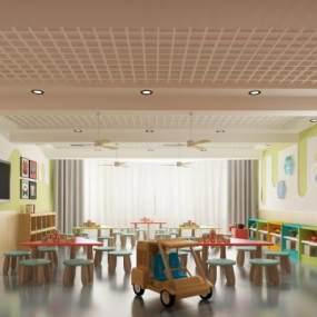 现代幼儿园教室3D模型【ID:953466625】