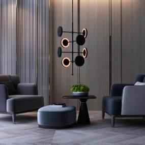 现代沙发茶几组合 3D模型【ID:640921710】