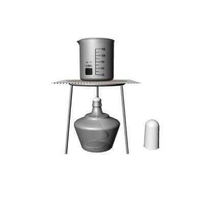 現代酒精燈支架石棉網實驗燒杯量杯3D模型【ID:434812385】