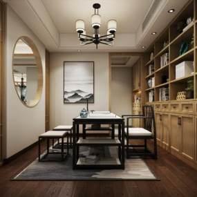 新中式书房空间3D模型【ID:536248428】