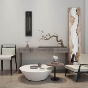 新中式单椅茶几边柜组合3D模型【ID:634706881】