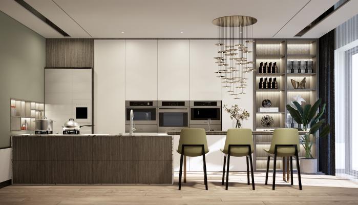 现代简约开敞式厨房早餐台组合SU模型【ID:553382382】