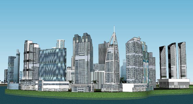 現代城市商業大樓建筑SU模型【ID:351694269】