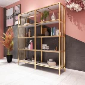 现代轻奢铁艺层板柜置物架组合3D模型【ID:146581154】