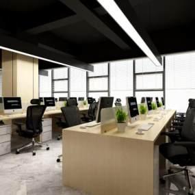 新中式办公区3D模型【ID:953020196】