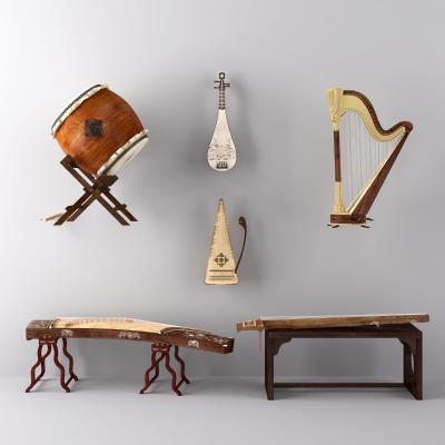 鼓琵古筝竖琴琵琶古琴乐器3D模型【ID:330593962】