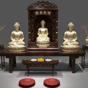 中式佛龛3D模型【ID:131619033】