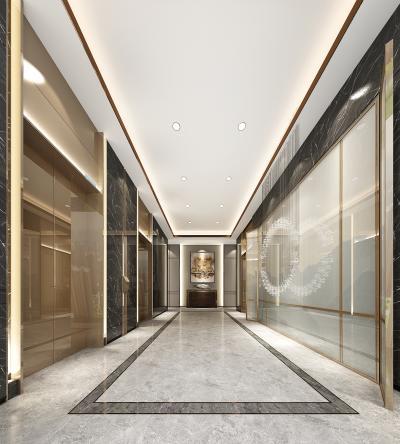 新中式酒店电梯厅 客用电梯