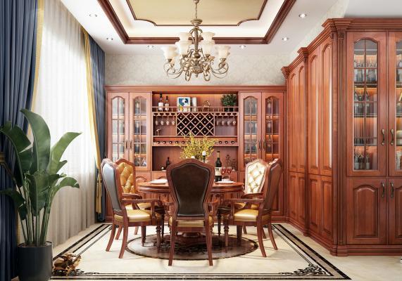 美式風格餐廳酒柜3D模型【ID:544008151】