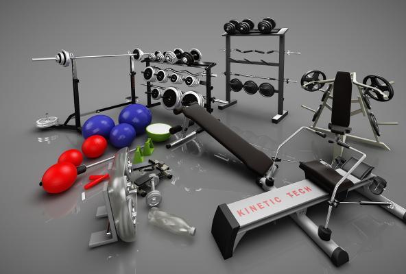 现代健身器材3D模型【ID:341838896】
