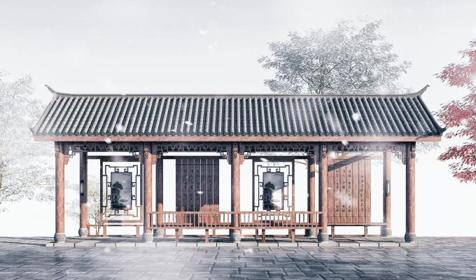 中式长廊3D模型【ID:146177904】