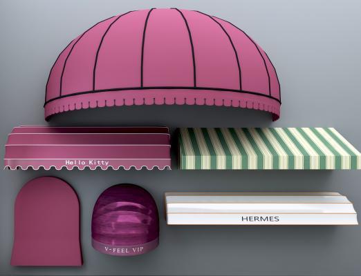 现代遮雨棚遮阳棚3D模型【ID:330607645】