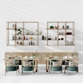 新中式茶桌椅金属装饰架 3D模型【ID:842389876】