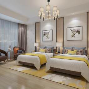 现代酒店客房3D模型【ID:748358333】
