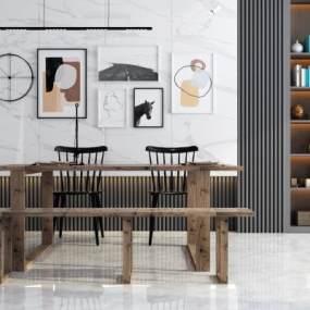 现代餐桌椅组合3D模型【ID:844409875】