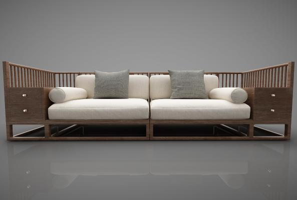 新中式风格沙发3D模型【ID:644298620】