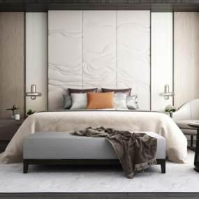 现代双人床背景皮革硬包背景休闲椅床头吊灯床榻 3D模型【ID:840926776】