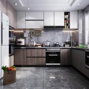 現代風格廚房櫥柜3D模型【ID:548108341】