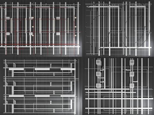 现代金属通风管道消防烟感器喷淋通风管线曹线管空调导轨灯吊灯吊顶组合3D模型【ID:343502498】