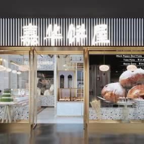 现代蛋糕店面包店门头3D模型【ID:643411405】