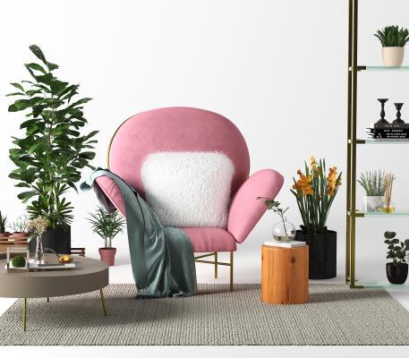 现代轻奢单人沙发椅3D模型【ID:653352445】