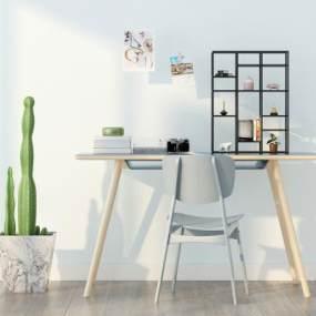 北欧书桌椅3D模型【ID:935804078】