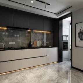 現代廚房3D模型【ID:546932376】