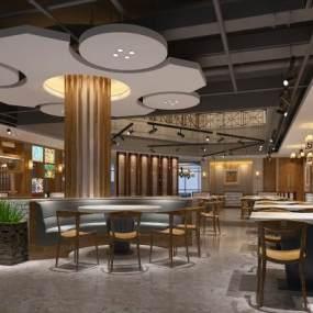 新中式自助海鲜酒店大堂3D模型【ID:733250018】