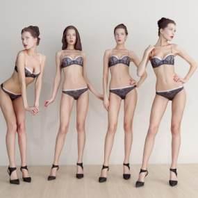 现代比基尼美女人物3D模型【ID:332252055】