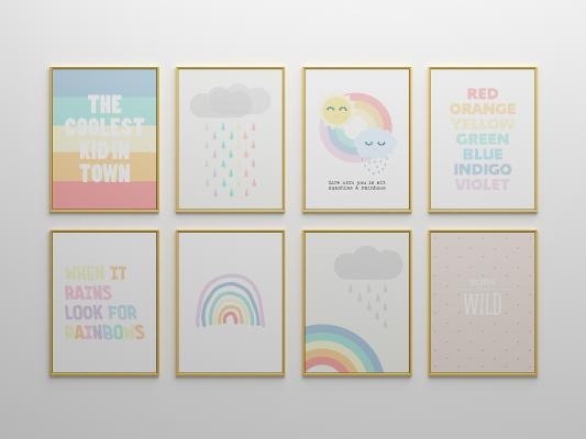 北欧儿童可爱彩虹装饰画