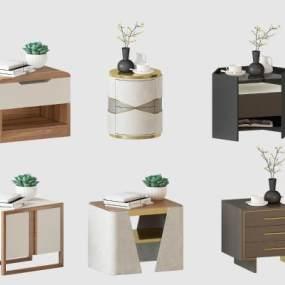 现代轻奢新中式床头柜 3D模型【ID:841480934】