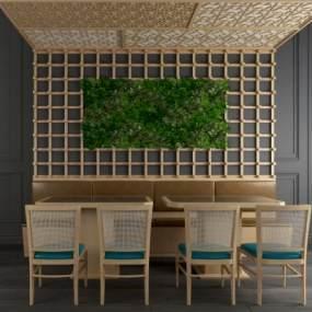 工业风餐桌椅绿植墙饰屏风隔断组合 3D模型【ID:841402871】