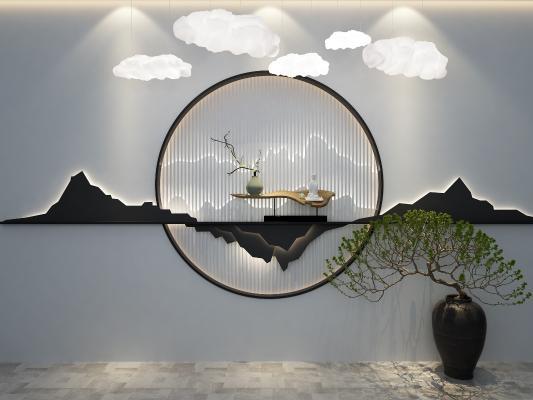 中式背景墻云彩燈3D模型【ID:247899782】