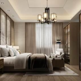 新中式卧室3D模型【ID:549364287】