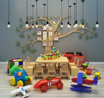 现代儿童桌椅玩具墙艺吊灯组合3D模型【ID:230624586】