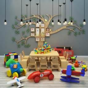 现代儿童桌椅玩具墙艺吊灯组合365彩票【ID:230624586】