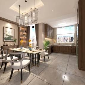 新中式居家餐厅3D模型【ID:550944186】