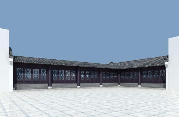 新中式长廊3D模型【ID:143390921】