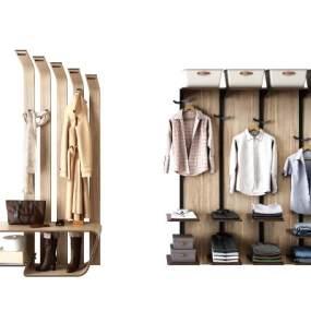 現代北歐衣架衣服組合3D模型【ID:143845446】