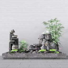 新中式假山流水景观小品3D模型【ID:130676430】