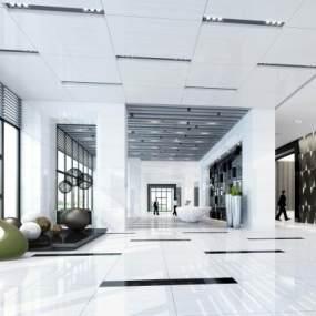 现代办公大厅3D模型【ID:933096264】