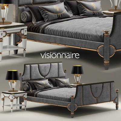 雙人床奢華臥室酒店床2011版本國外3D模型【ID:830646796】