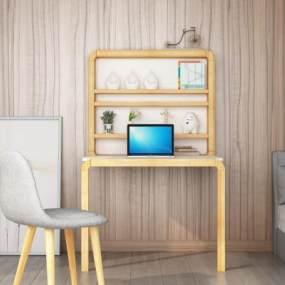北歐實木腳折疊桌3D模型【ID:946606040】