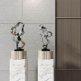 新中式雕塑組合3D模型【ID:353264187】
