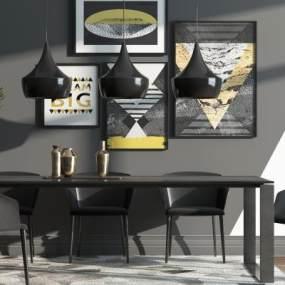 工业风餐桌椅组合3D模型【ID:732924192】
