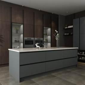 现代厨房橱柜3D模型【ID:533224329】