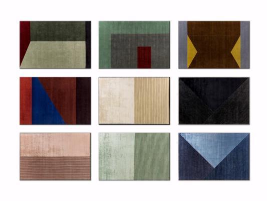 现代几何撞色装饰地毯3D模型【ID:342530224】