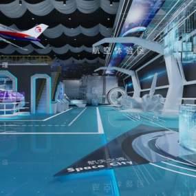 現代科技航空展廳展館3D模型【ID:953556767】